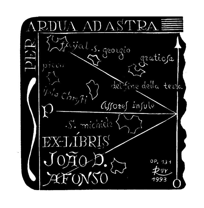 ex-libris de João Afonso. Reproduzido de Palhé, R. (1994), Ex-Líbris, Marcas de Posse Bibliotecárias. Câmara Municipal de Angra do Heroísmo.