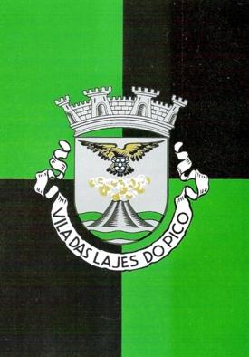 Heráldica da freguesia das Lajes (Pico). Reproduzido de Manuel Ferreira (1996), A simbologia do Açor na heráldica dos municípios açorianos, Ponta Delgada, Nova Gráfica Limitada.